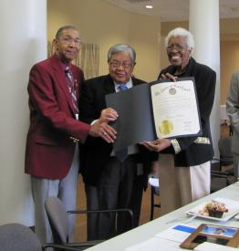 Col. Boyd pictured with Bob Johnson (left), former Chairman of the Maryland Veterans Home Commission, and Ed Chow, former Secretary of the Maryland Department of Veterans Affairs.