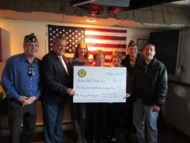 Left to right: Jay Bolles, Calvert County Commander; George Owings, III, Maryland Department of Veterans Affairs' Secretary; Connie Kontra; Margit Miller, Past Auxiliary President; Sharon Mattia, Veterans Home Director; Eric Walls, 1st Vice Commander; Rick Watson, 2nd Vice Commander.