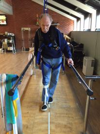Fall-prevention harness with new parallel bars in our Rehabilitation Department