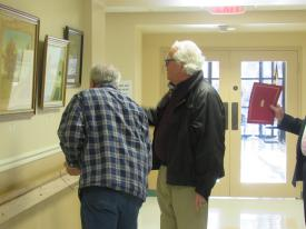 Senator Mike Miller with resident, Paul Dominey